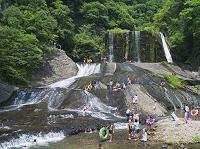 大分県 龍門の滝 滝すべり