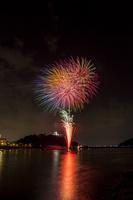 国宝犬山城と打ち上げ花火
