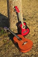 夕暮れの公園の二本のギター