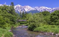 長野県 大出公園から見る新緑の白馬連峰