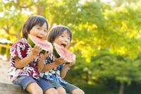 スイカを食べる日本の双子の兄弟