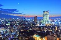 東京都 東京タワーから 六本木ヒルズ方面 夕焼け空