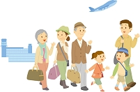 旅行に出掛ける三世代家族