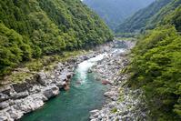 徳島県 大歩危峡でラフティングを楽しむ人々