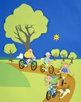 家族でサイクリング   (ペーパークラフト)