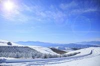 日本 長野県 霧ケ峰高原 雪のビーナスラインと南アルプスと中...