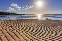鹿児島県 干潟模様と太陽 沖永良部島