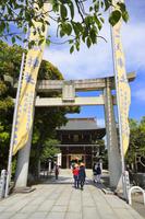 福岡県 宮地嶽神社 参道の石鳥居と楼門