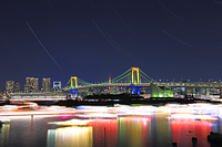 東京都 レインボーブリッジと東京タワー 光跡