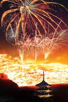 奈良県 若草山の山焼きと興福寺の五重の塔