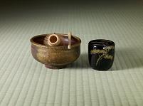 備前焼茶碗(陶仙作)と棗と茶杓と茶筅