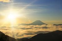 山梨県 池の茶屋林道 日の出の富士山と雲海