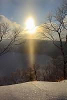 北海道 摩周湖 サンピラーとダイヤモンドダスト