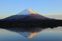 山梨県 精進湖 夕日に染まる富士山と逆さ富士