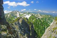 富山県 剣岳早月尾根から立山(左奥)薬師岳(中央奥)