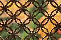 京都府 常照皇寺 勅使門の木彫りと紅葉