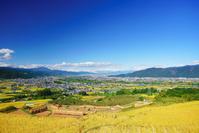 長野県 千曲市 おばすて棚田と飯縄山と長野市方向遠望