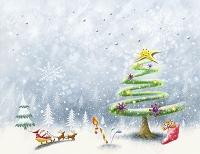 クリスマスツリーとサンタクロース