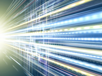 光芒から放たれるデータ光線群と回路