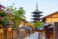 京都府 早朝の八坂通り・石畳の道と法観禅寺・八坂の塔