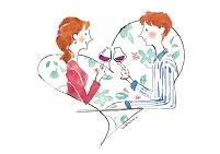 イラスト ワインで乾杯するカップル