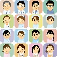 医療機関で働く男女の集合イラスト