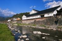 岡山県 旭川と高瀬舟発着場跡と勝山町並み保存地区