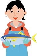 水産業に従事する若い女性