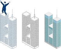 超高層ツインタワーと屋上のビジネスマン