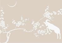 ヒツジと梅のイラスト