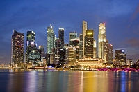 シンガポール ビル群夜景