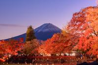 山梨県 河口湖 紅葉ライトアップと富士山