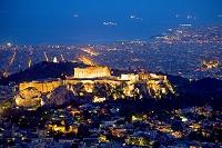 ギリシャ アテネ リカヴィトスの丘から夕暮れのアクロポリスの丘