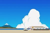 富士山と海の家 夏のイラスト
