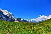 スイスアルプスのアイガーとクライネシャイデック駅からの風景と...