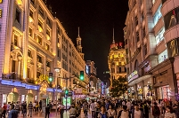 中国 夜の南京東路