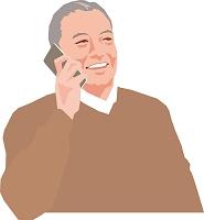 電話するアクティブシニアの男性