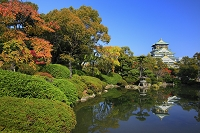 大阪府 紅葉した紀州御殿跡の池と大阪城天守閣