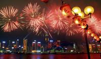 中国 香港 ビクトリアハーバーに上がる花火