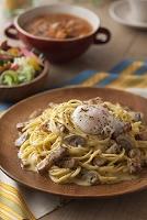 温泉卵のスパゲティカルボナーラ