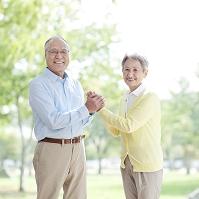手を繋ぐ日本人のシニア夫妻