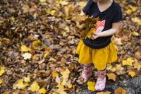 落ち葉を拾う女の子
