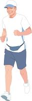 ジョギングをするアクティブシニアの日本人男性