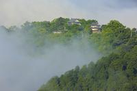 岡山県 朝の備中松山城と雲海の山並み