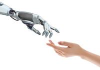 CGイラスト 手を繋ぐロボットと女性