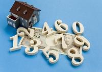 数字と一万円札と建築模型