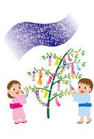 天の川と七夕の笹飾りと子供