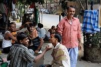 インド コルカタ 路上床屋