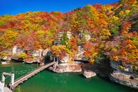福島県 紅葉 塔のへつり