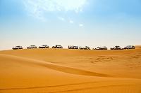 砂漠に並ぶジープ